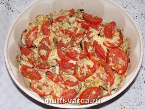 Баклажаны запеченные с сыром и помидорами в духовке