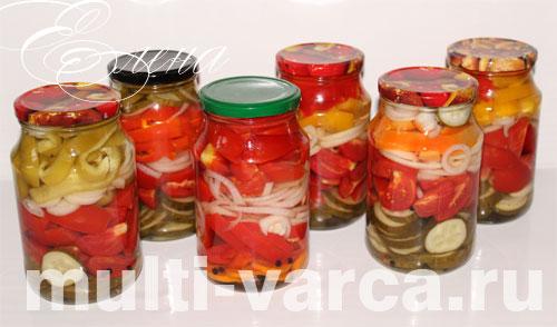 Овощной салат из помидоров, огурцов, болгарского перца на зиму