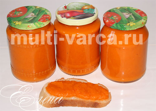 Домашняя овощная икра на зиму в мультиварке из кабачков, моркови, помидоров