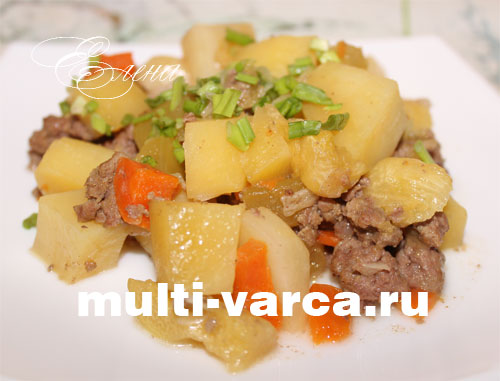 картошка с кабачками в мультиварке с мясом