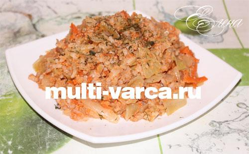 капуста тушеная с фаршем в мультиварке с рисом