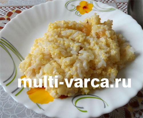 каша с рисом и пшеном в мультиварке с тыквой
