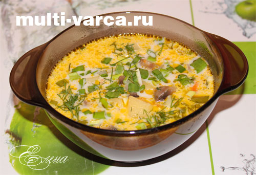 Сырный суп с шампиньонами в мультиварке