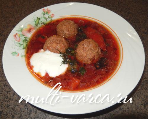 Красный суп со свеклой и фрикадельками в мультиварке