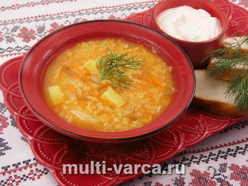 Как приготовить постный суп с капустой, пшеном и солеными огурцами в мультиварке, пошаговый рецепт с фото.
