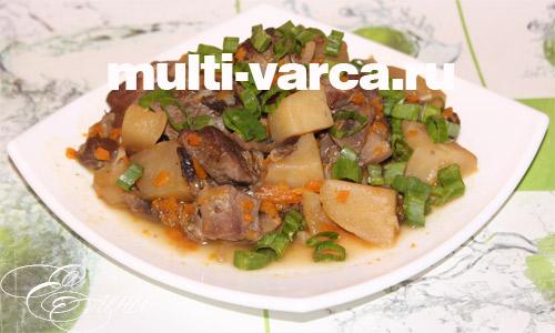 Жаркое из говядины с грибами в мультиварке