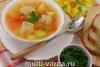 Суп с рыбными фрикадельками из горбуши с пшенкой в мультиварке