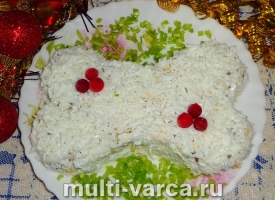 вкусный салат Косточка на Новый год из куриных сердечек с огурцом