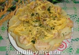 Картофельная запеканка с курицей в мультиварке