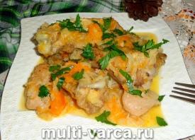 Курица с тыквой и капустой в мультиварке