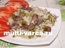 Горох с мясом и рисом в мультиварке