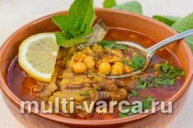 Суп из баранины с рисом, чечевицей и нутом в мультиварке скороварке