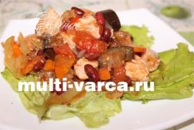 Курица с фасолью и овощами в мультиварке
