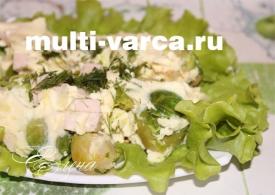 Омлет с брюссельской капустой и ветчиной в мультиварке