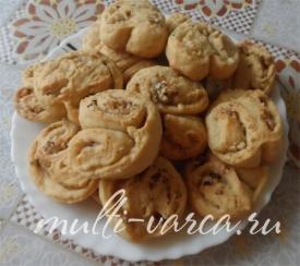 Творожное печенье с грецкими орехами в мультиварке