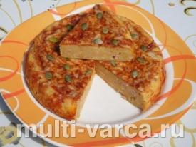 Пирог из тыквы с ветчиной и сыром в мультиварке