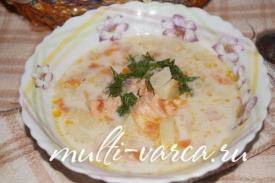 Сливочный суп с сёмгой в мультиварке