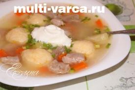 Суп из свинины с галушками в мультиварке