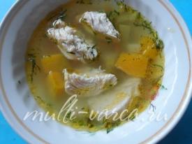 Вкусный куриный суп с тыквой в мультиварке