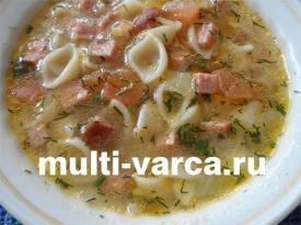 Итальянский суп с макаронами и копченой колбасой в мультиварке
