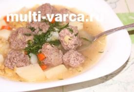 Гороховый суп с фрикадельками в мультиварке