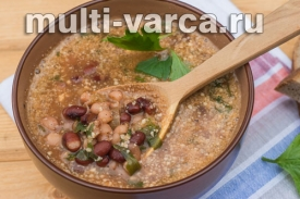 Адыгейский суп из фасоли с грецкими орехами в мультиварке-скороварке