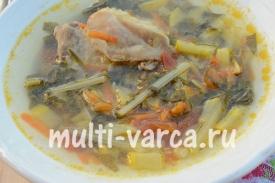 Овощной суп с мангольдом в мультиварке