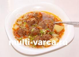 Гречневый суп с фрикадельками в мультиварке Редмонд