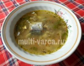 Рыбный суп с грибами и вермишелью