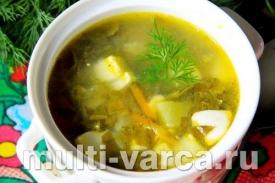 Суп с щавелем и яйцами в мультиварке