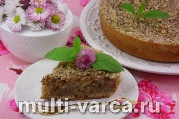 Овсяный пирог с грецкими орехами в мультиварке