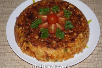 Рисовая запеканка с фаршем и овощами в мультиварке