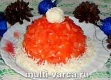Салат Шапка Деда Мороза с яйцом, сыром и колбасой