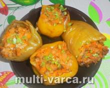 Диетические перцы фаршированные овощами в мультиварке