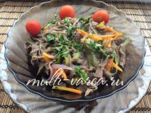 Гречневая лапша соба с говядиной и овощами в мультиварке