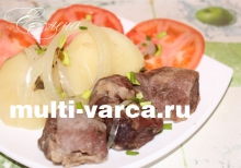 Картошка с говядиной на пару в мультиварке