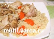 Вкусные запеченные куриные крылышки с рисом в мультиварке