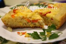 Открытый пирог с овощами в мультиварке из дрожжевого теста