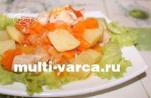 Тушеная индейка с картошкой и овощами в мультиварке