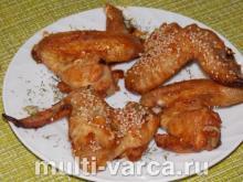 Вкусные, хрустящие куриные крылышки с кунжутом