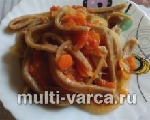 Домашняя лапша с овощами