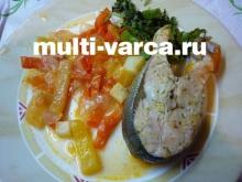 Лосось с овощами в мультиварке