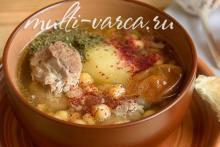 Суп из баранины в мультиварке с нутом