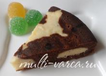 Шоколадно-творожный пирог в мультиварке с маком и кокосовой стружкой