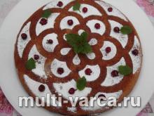 Пирог с брусникой с сливами в мультиварке