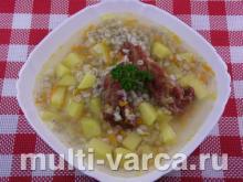 Суп с копчеными ребрышками в мультиварке