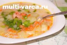 Сырный суп с креветками в мультиварке