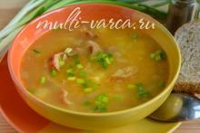 Гороховый суп с копчёными рёбрышками в мультиварке