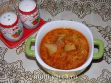 Суп из курицы с томатной пастой и кабачками в мультиварке