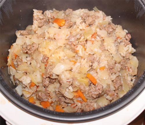 капуста с рисом и фаршем в мультиварке рецепты